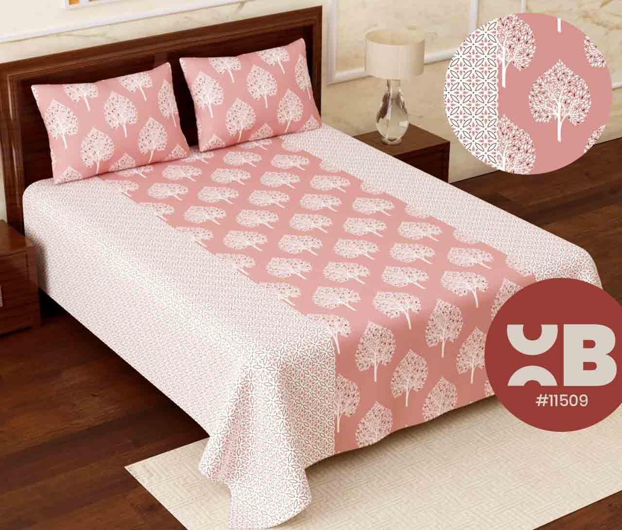 Classy leaf design Super King Size Double Bedsheet with two Pillow Covers ( 110X115)