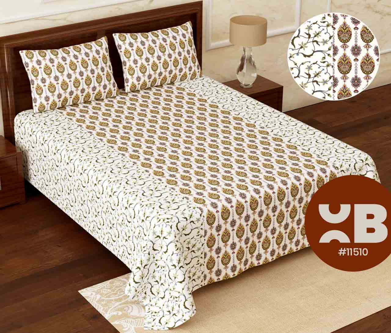 Sober design Super King Size Double Bedsheet with two Pillow Covers ( 110X115)