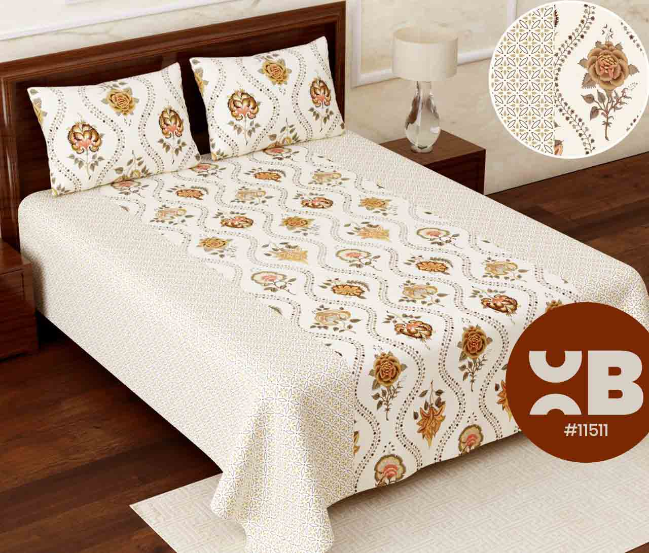 Attractive rose design Super King Size Double Bedsheet with two Pillow Covers ( 110X115)