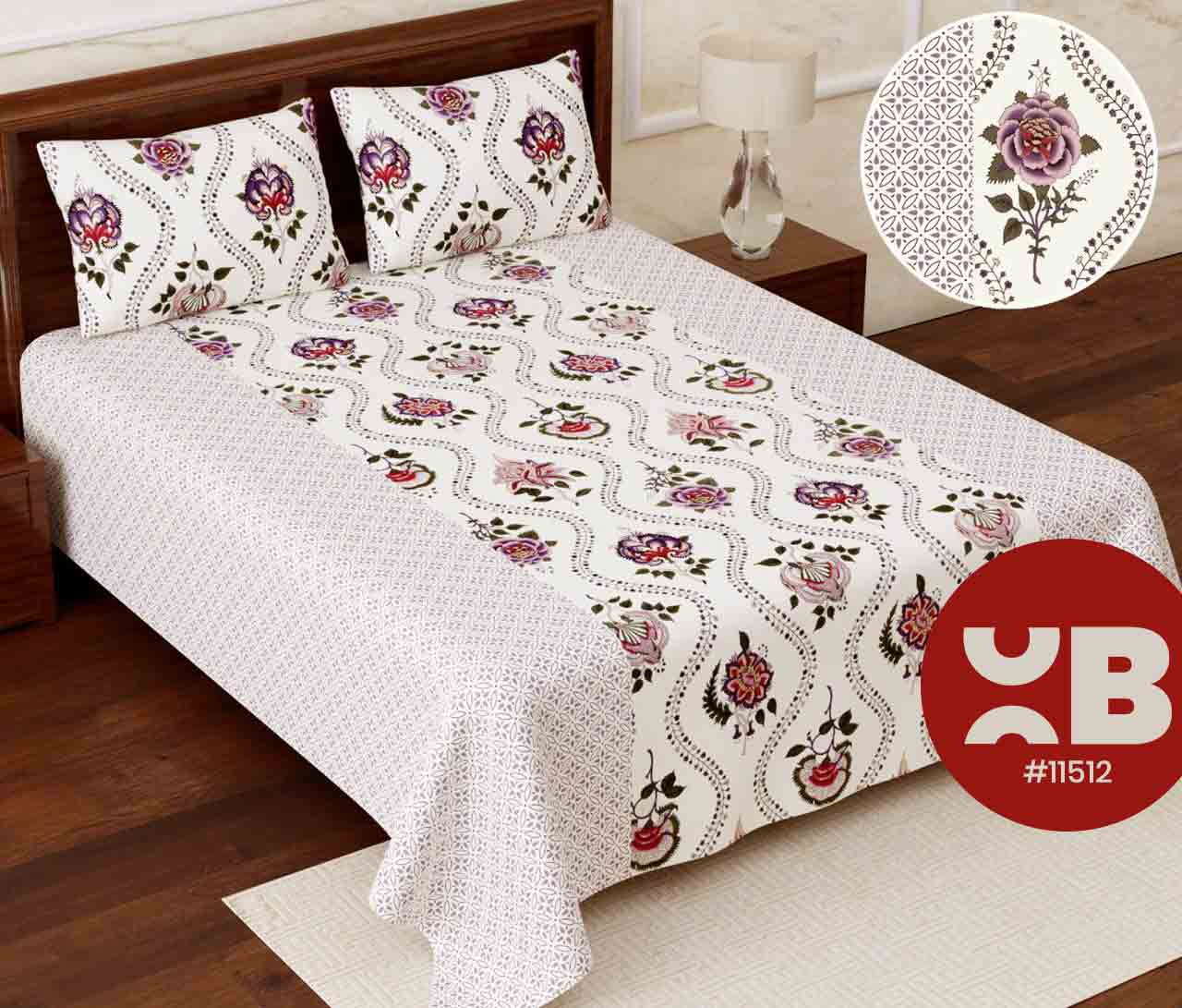 Beautiful cotton rose Super King Size Double Bedsheet with two Pillow Covers ( 110X115)