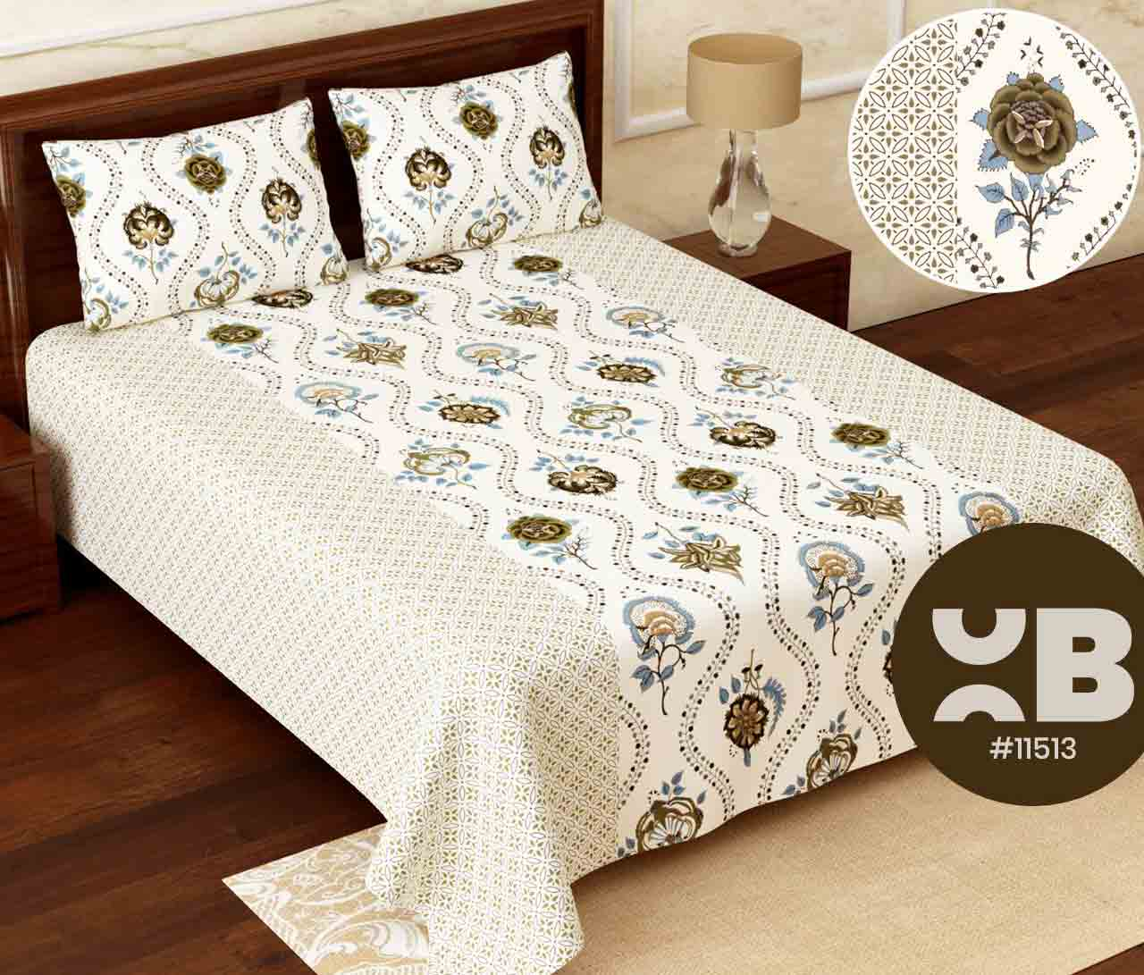 White with rose printed Super King Size Double Bedsheet with two Pillow Covers ( 110X115)