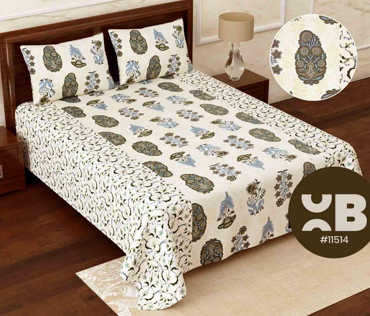 Multi design pattern design Super King Size Double Bedsheet with two Pillow Covers ( 110X115)