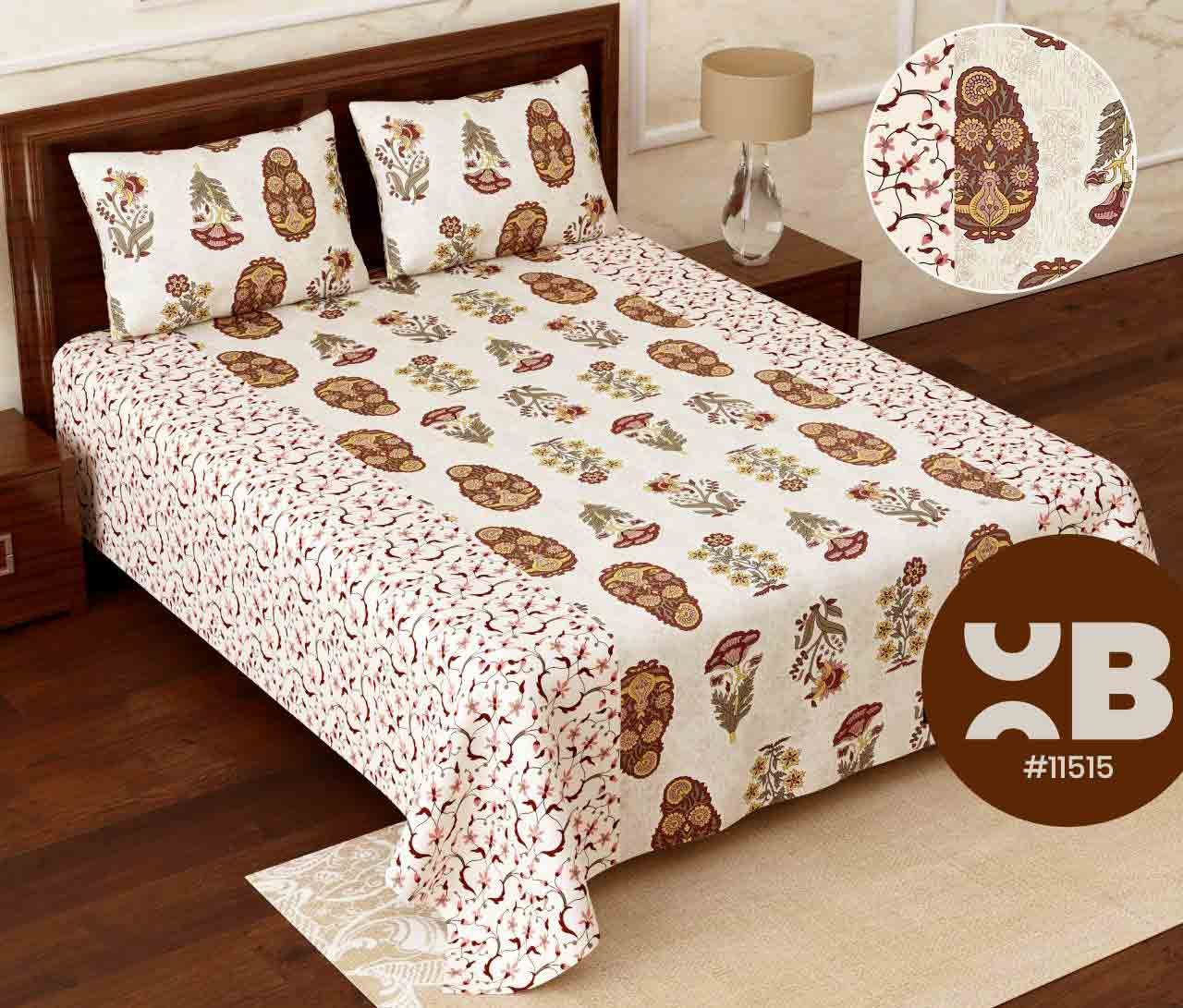 Multi design cotton Super King Size Double Bedsheet with two Pillow Covers ( 110X115)