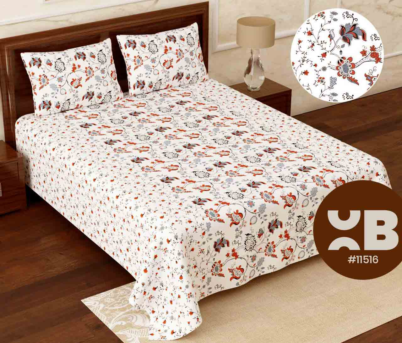 White and mini design printed Super King Size Double Bedsheet with two Pillow Covers ( 110X115)