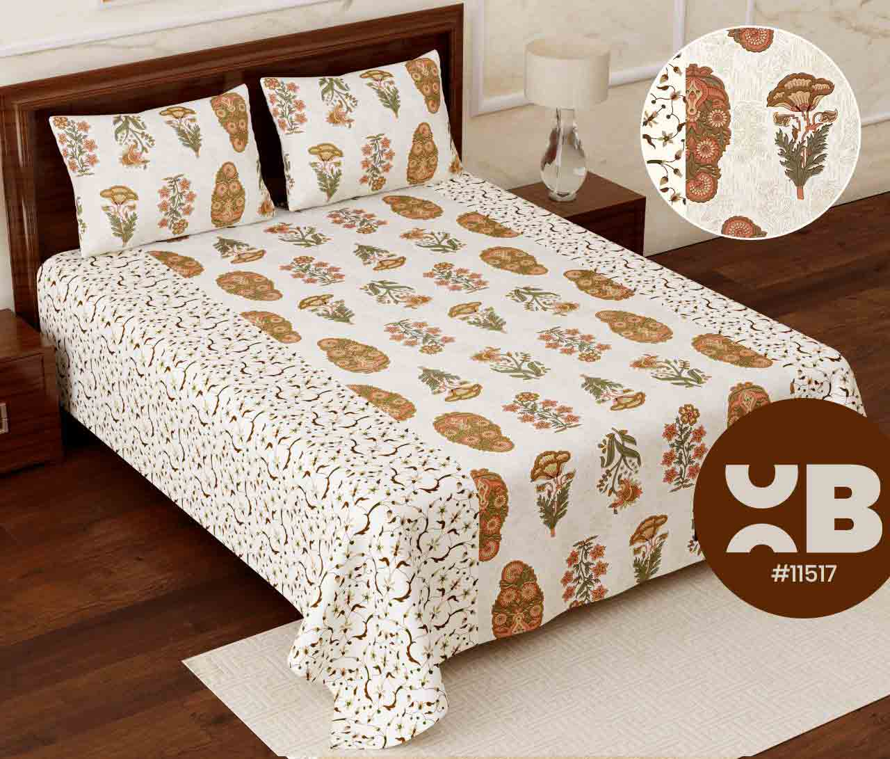 Cottony flower Super King Size Double Bedsheet with two Pillow Covers ( 110X115)
