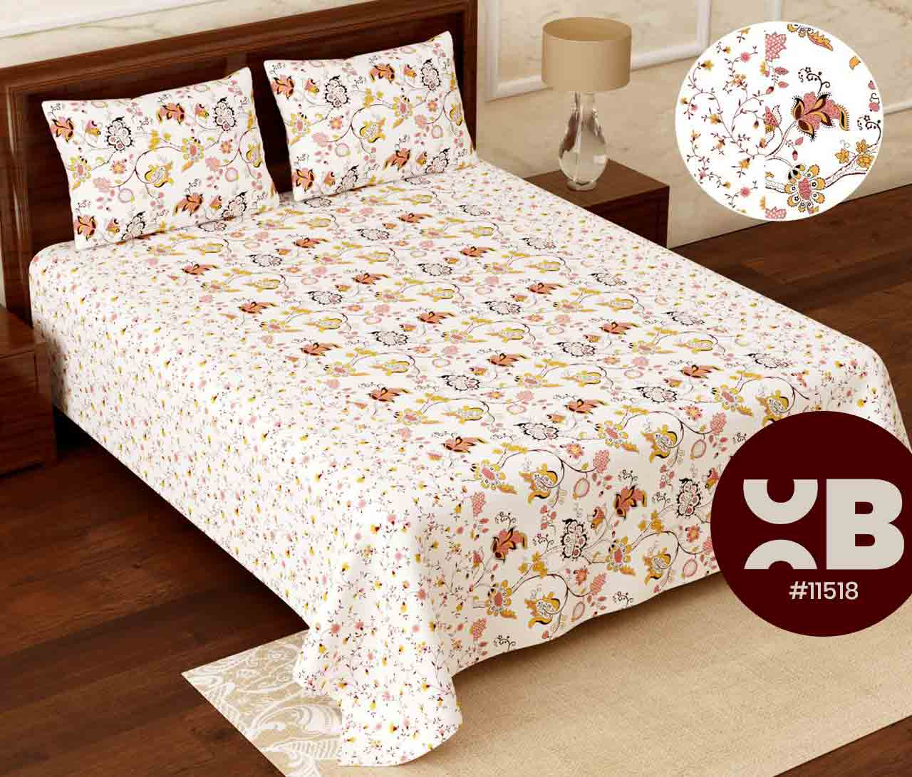 Multi coloured flower design Super King Size Double Bedsheet with two Pillow Covers ( 110X115)