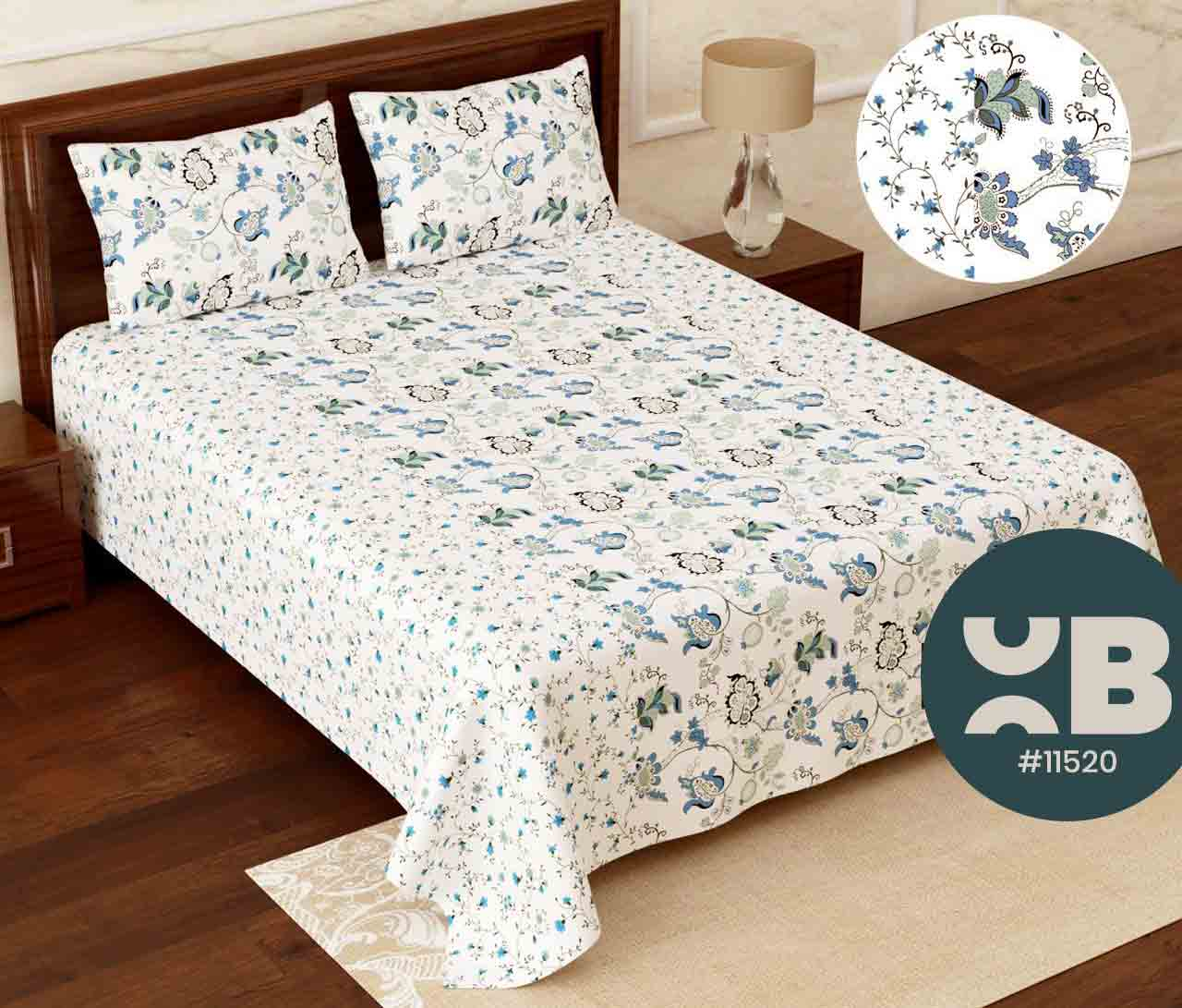 Mini blue flower design Super King Size Double Bedsheet with two Pillow Covers ( 110X115)