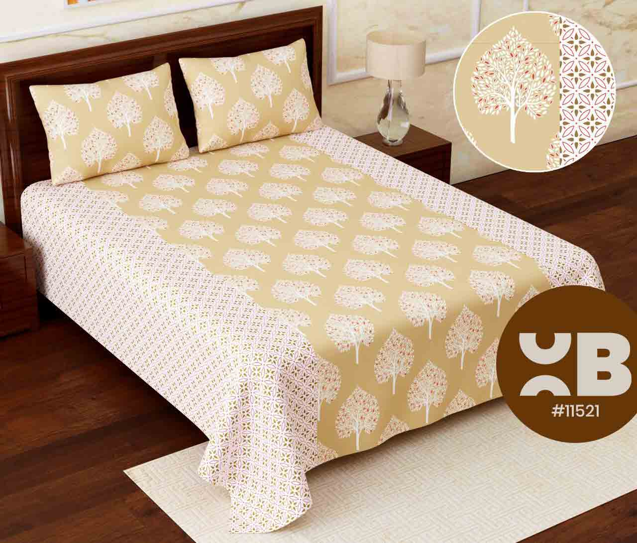 Peach leaf design Super King Size Double Bedsheet with two Pillow Covers ( 110X115)