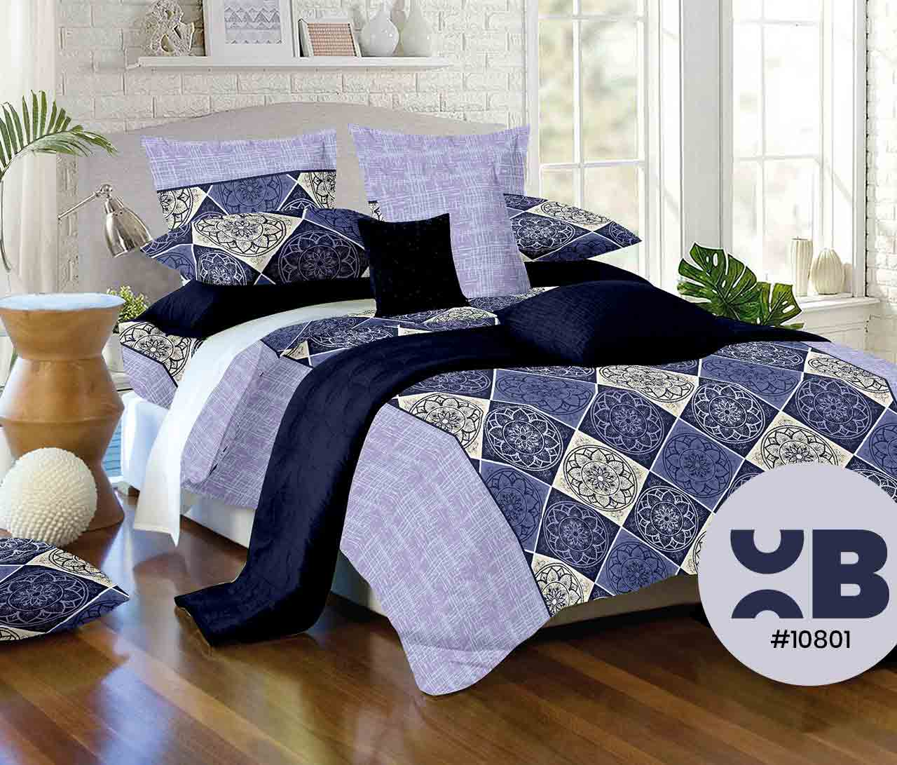 Multi Blue Shade Printed Double Bedsheet With Two Pillow Covers ( 108X108)