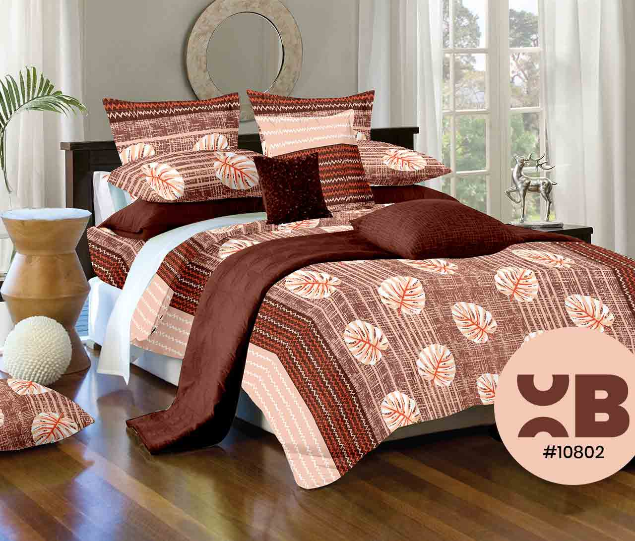 Lotus Leaf Print Double Bedsheet With Two Pillow Covers ( 108X108)