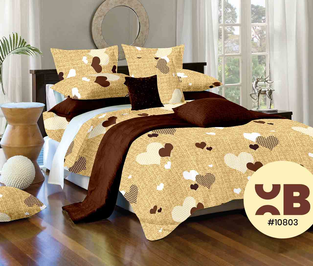 Chocolate Heart Print Double Bedsheet With Two Pillow Covers ( 108X108)