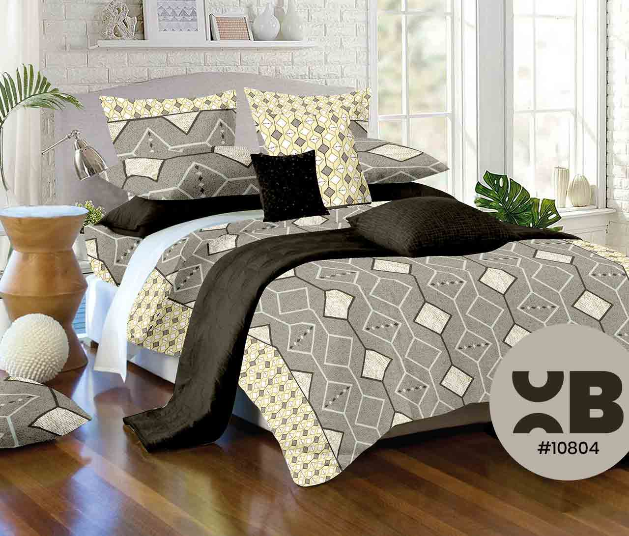 Diamond Cut Printed Double Bedsheet With Two Pillow Covers ( 108X108)